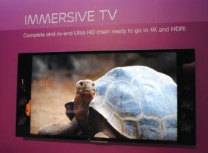 O stand da Ericsson, um dos maiores da NAB 2016, mostrou que a indústria avança a passos largos para processos completamente virtualizados. Em destaque a solução da marca de Immersive TV, solução para conteúdos em Ultra Alta Definição (UHD) com HDR