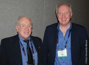 Olímpio Franco, presidente de SET, e Simon Fell, diretor de Tecnologia e Inovação da European Broadcast Union (EBU)
