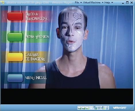 Figura 5: Menu Inicial, em que se explica a interação nos botões coloridos (fonte: Projeto Trapézio: uma narrativa interativa para a TV Digital Brasileira. TCC de Marília Fredini, 2011)