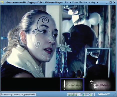 Figura 6: Tela com ícones de interação durante uma cena do filme (fonte: Projeto Trapézio: uma narrativa interativa para a TV Digital Brasileira. TCC de Marília Fredini, 2011)