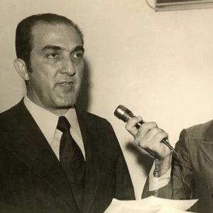 O executivo Phelippe Daou durante a inauguração da Rede Amazônica, acompanhado pelo jornalista José Augusto Roque da Cunha, no dia 1º de setembro de 1972
